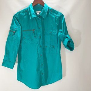 Chicos Size 1 Size M Snap Front Roll Tab Sleeve